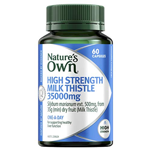 Nature's Own High Strength Milk Thistle 35000mg - Supports Healthy Liver Function - One-A-Day Supplement, 60 Capsules