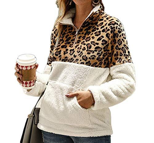 Loalirando Felpa Donna Maglione in Pile Caldo Cappotto Donna Invernale Leopardato Elegante Scollo Alto con Zip