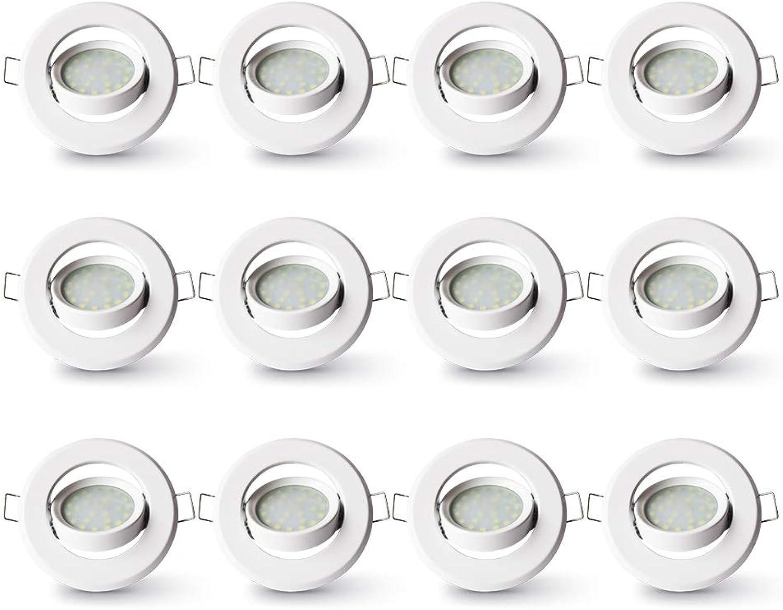 Lampaous LED Einbaustrahler Schwenkbar Ultra Flach 12er Set 5W LED Modul IP23 Spot Einbauleuchte Deckenspot Deckenstrahler Einbauspot Spots Rund Warmweiss Metall rund Einbaurahmen