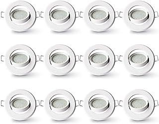 Lampaous Foco empotrable con módulo LED redondo de 5 W, LED blanco frío, 6000 K, marco de metal, giratorio, inoxidable, ju...