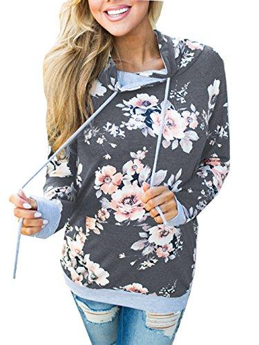 Famulily Women's Floral Printed Casual Long Sleeve Hoodie Pullover Sweatshirts(Dark Grey,Medium)
