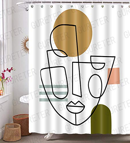 Abstract Face Shower Curtain Modern Minimalist Style Bathroom Curtains Decor 72x72in Waterproof Polyester with 12 Hooks YLLLGE126