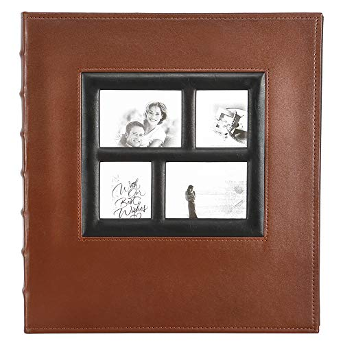 Self Adhesive Stick Photo Album with Magnetic Pages, Large Leather Family Albums with Sticky Page for Wedding/Anniversary/Birthday, Support 3x5 4x6 5x7 8x10 (Brown, 30 Sheets / 60 Pages)
