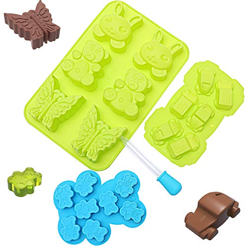 Chocolate Candy Silicone Mold Trays  Recipes eBook  Nonstick BPAFree  Make Chocolate Shapes Gummy Candies Hard Candy and Ice Cars and Animals  3 Trays