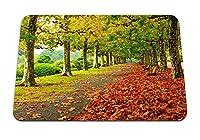 26cmx21cm マウスパッド (公園紅葉ベンチ木) パターンカスタムの マウスパッド