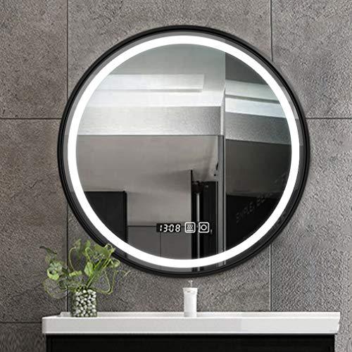Badezimmer Wandspiegel Retro Style LED-Wandspiegel, Anti-Fog-Kosmetikspiegel mit Beleuchtung, Edelstahlrahmen, Touch-Taste, elektronische Uhr, weißes/warmes Licht