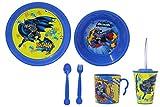 JAMARA Batman 410135 Service de table pour enfant 8 pièces sous licence officielle Passe au lave-vaisselle, assiette, tasse, bol à céréales, fourchette, cuillère, gobelet avec couvercle et paille