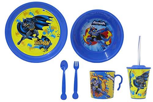 JAMARA- Batman - Vajilla Infantil (8 Piezas, con Licencia Oficial, Apto para lavavajillas, Plato, Taza, Cuenco para Cereales, Tenedor, Cuchara, Vaso con Tapa y Pajita), Color Azul (410135)