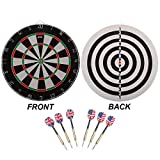 Regulation Size 2-in-1 Dart Board Game Set with Darts (Two Styles Available) (Flocking Bullseye Dart...