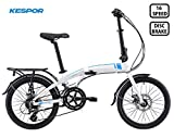 Kespor Adult Folding Bike, 20-inch Wheels, Rear Carry Rack, Shimano 16 Speed, Disc Brake (White-Venture)