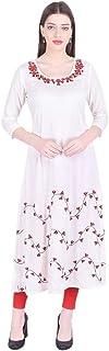 سترة نسائية من القطن الطويل مطبوع عليها Vihaan Impex ملابس حفلات كورتيز للنساء أبيض