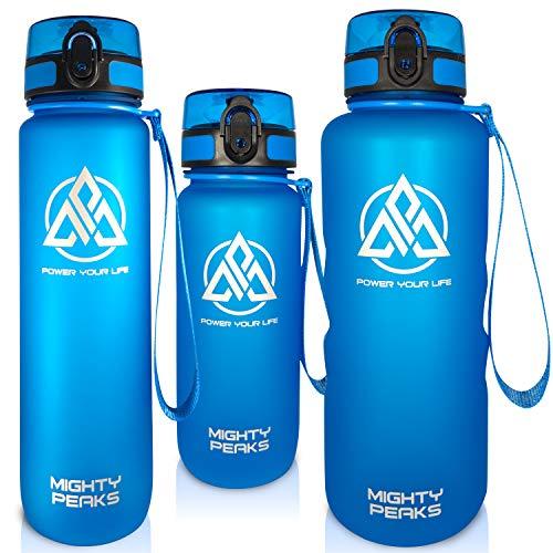 MIGHTY PEAKS Tritan sportowa butelka na napoje 1 l, bez BPA, butelka na wodę 1 l, niebieska, butelka na napoje dla dzieci, butelka plastikowa 1 l, butelka sportowa na rower, fitness, piłka nożna, dzieci, sport
