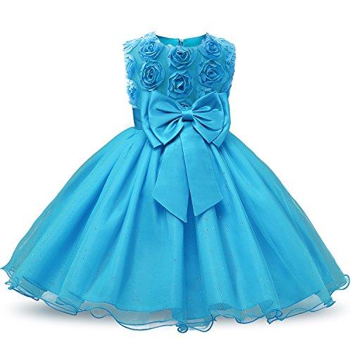 NNJXD Vestido de Fiesta de Princesa con Encaje de Flor de 3D sin Mangas para Niñas Talla(140) 5-6 años Azul