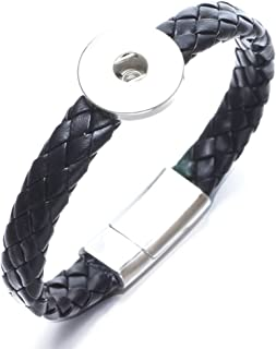 Royalbeier Black/Brown Magnet Clasps Genuine Leather Snap Charms Bracelet for 12/18mm Snap Button Snap Jewelry