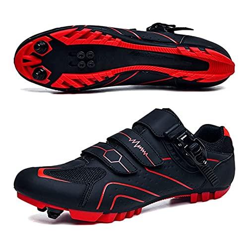 ZBHWYD MTB Ciclismo Hombres Zapatos de Ciclismo Transpirable Carreras de Bicicleta Auto-Bloqueo MTB Zapatos de montaña Zapatos de Bicicleta (Color : Red, Size : 41 EU)