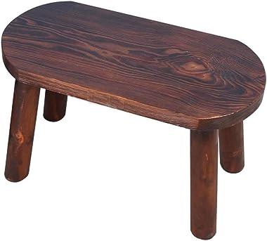 LGQ-JJU Oval Wooden Bench, Ottoman Vintage Footrest Furniture Regeneration Footstool Indoor Outdoor Handmade Chair (Size : 202440cm)