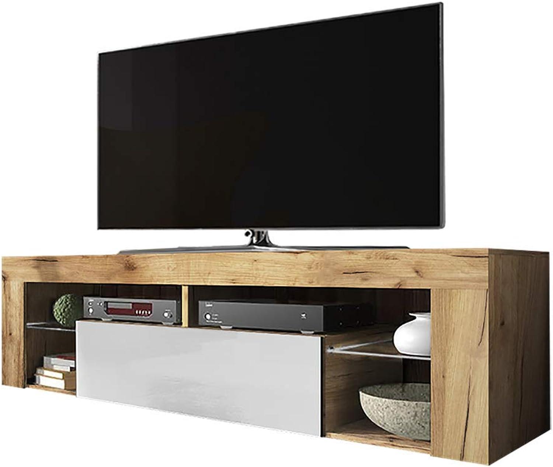 Selsey Hugo – TV-Lowboard TV-Schrank in Holz-Optik Lancaster Eiche mit Klappe in Wei Hochglanz Stehend 140cm