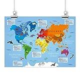 nikima - Kinder Lernposter Weltkarte - Plakat für
