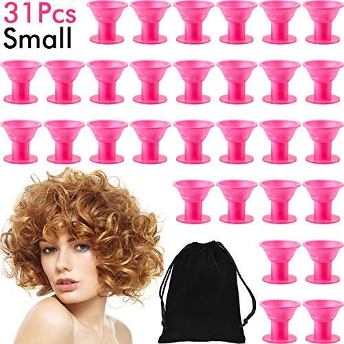 31 Pieces Small Silicone Hair Curlers Set, 30 Pack Magic Hair Rollers 1.6 Inch No Clip Silicone Curlers with a Black Storage Bag for Women and Kids (Small)