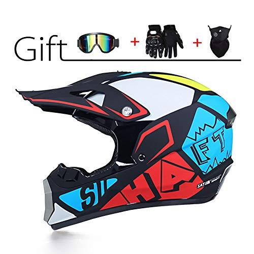 LEENP Casco de Motocross - Cascos de Motocicleta Set con Gafas Máscara...