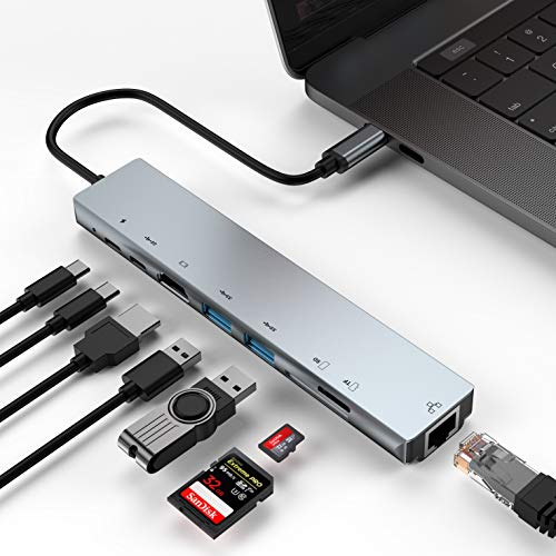 XVZ USB C Hub Adapter, 8-in-1 USB C Adapter with Ethernet Port, 4K USB C to HDMI, 3 USB 3.0 Ports,SD/TF Card Reader and PD Charging Port for MacBook Pro, ChromeBook with Mini Type C