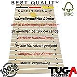 TUGA Holztech Massivholz 20mm Rollrost Lattenrost Liegefläche 90x200cm bis weit über 200Kg Flächenlast Qualitätsarbeit aus Deutschland unbehandeltes Naturprodukt Garantie 5 Jahre