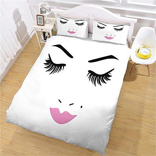 aakkjjzz Kinder Bettwäsche 135X200 cm für Mädchen und Jungen 3D Weiche Bettbezug Mikrofaser Set Kinderbettwäsche Schönheitsgesicht Bettbezüge mit Reißverschluss +2 Kissenbezüge 80X80 cm