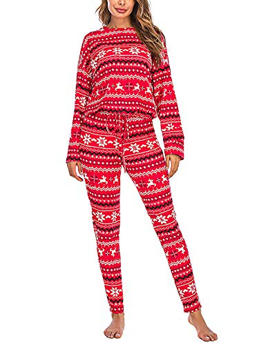 Christmas Pajama Set Women Christmas Pajamas Long Sleeve PJ Set Printed Holiday Sleepwear (Red , S )