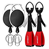 SAMSFX Fishing Quick Knot Tying Tool New Lengthen 4 in 1 Mono Line Clipper with Zinger Retractor Combo (2sets Black Knot Tool & Oval Zinger)