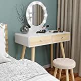 JAXSUNNY Versatile Vanity Sets with Washable Sponge Covered Cushioned Stool, Writing Desk and Round Mirror, Large Storing Makeup Vanity Table Mirror with Lights, Drawers,Bedroom Dresser Table, White
