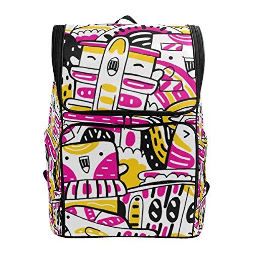 Mokale Miami Cityscape Doodle Cute Hand Drawn,Backpack Rucksack Travel Bag Hiking Knapsack College Student School Bookbag Travel Daypack for Men or Women