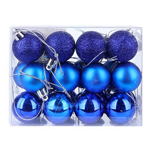 DomoWin Bolas de Navidad, Bolas para árbol de Navidad Decoración de Bolas de Navidad Inastillable Decoración del Árbol De Navidad Set de 24 Bolas (Azul Oscuro, 3 cm Ø)