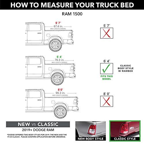 BAK BAKFlip MX4 Hard Folding Truck Bed Tonneau Cover   448203RB   Fits 2012-2018, 2019-21 Classic Dodge Ram 1500, 2012-21 2500/3500 w/RamBox 6' 4