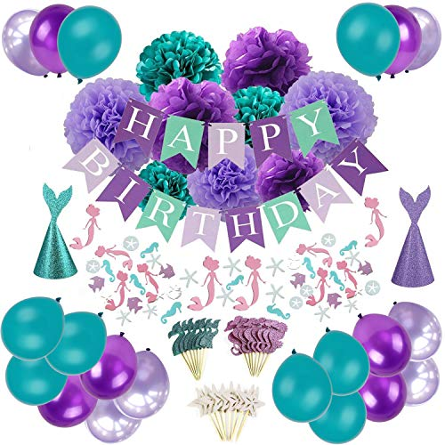 Mermaid Party Decorations, Sorive Happy Birthday Banner with Tissue Paper Pom Poms, Latex Balloons, Mermaid Confetti, Glitter Mermaid Party Hats and Cupcake Toppers - Teal Lavender Purple