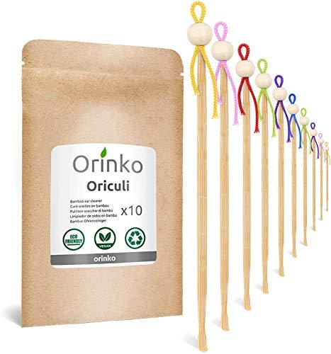 ORINKO - Oriculi en Bambou 10x - Cure Oreille Écologique et Réutilisable pour Remplacement Coton Tige - Zéro Déchet [𝗦𝗮𝘁𝗶𝘀𝗳𝗮𝗶𝘁 𝗼𝘂 𝗥𝗲𝗺𝗯𝗼𝘂𝗿𝘀𝗲 𝗮 𝗩𝗜𝗘]