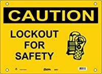 """Master Lock S8052 20"""" Width x 14"""" Height Polypropylene, Black on Yellow Safety Sign, Header """"Caution"""", Legend """"Lockout For Safety"""" (with Picto)"""