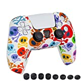 Silicone Case Protective Cover with Joystick Thumb Stick Grips Cap for PS5 (Colorful Smiley)