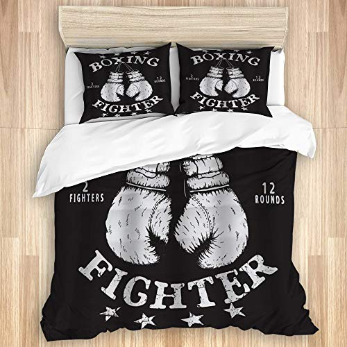 MIGAGA Bedding Duvet Cover Set with Zipper Closure - Old Sports Label Gloves Boxing Fighter - Brushed Microfibre Duvet Cover with Pillowcases-Double(200 * 200cm)