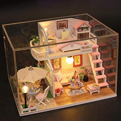 Ranana Neue DIY Puppenhaus Loft 3D Holz Miniatur Cottage Pink Hand zusammengebaut mit Möbeln Mini Exquisite Wohnung Modell DIY Kit Sutiable Kinder 6 oder höher