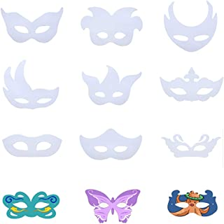 TYLCC 12PCS DIY Unpainted Masquerade Masks Blank Painting Mask White Plain DIY Paper Face Masks for Kids Women Cosplay Halloween Party Costume Masquerade Dance Party