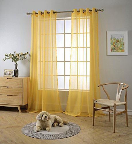 """MIUCO 2 Panels Grommet Textured Solid Sheer Curtains 84 Inches Long for Living Room (2 x 54 Wide x 84"""" Long) Yellow"""