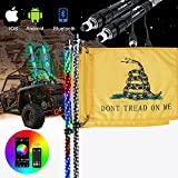 Whip Lights - AUTOOMMO 2Pcs 3FT Spiral RGB LED Chasing Whip Light with Gadsden Flag Remote and APP Control 300 Flash Patterns for UTV ATV Off-Road Truck Sand Buggy Dune RZR Can-Am (3FT)