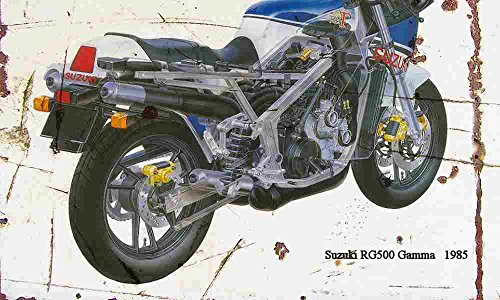 Suzuki RG500 Gamma 1985 leeftijd Vintage teken aluminium afdrukken A3