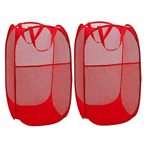WD&CD Cestos para Lavandería Plegables 【2 Pack】 Plegable Pop-Up Malla Cesto de Ropa Bolsa Bin Cesto Juguete Organizador de Almacenamiento Cesta de Lavandería Independiente con Asas Extendidas (Rojo)