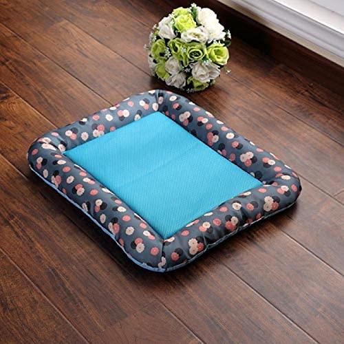 YOULIER Breathable Anti-slip Spring Summer Pet Dog Bed Puppy Ice Silk Mat Cushion for Car Floor Sofa Cat Dogs Nest Kennel Mattress Pad XL bluenetB