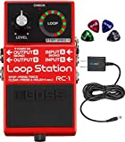 BOSS RC-1 Stereo Loop Station Bundle with Blucoil Slim 9V Power Supply AC Adapter, and 4-Pack of Celluloid Guitar Picks