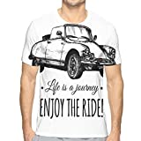 ZZHOO Men's T-Shirt 3D Printed Casual,Monochrome Typographic Design with A Hand Sketched Retro Style Car M