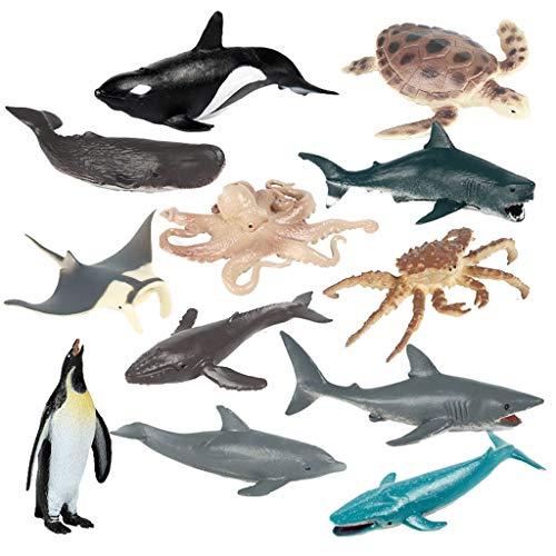 JOKFEICE Tierfiguren 10 Stück Realistische Kunststoff Marine Tiere Figuren Set Beinhaltet Blau Whale Wissenschaft Projekt, Lernen Pädagogisches Spielzeug, Geburtstag Geschenk für Kinder Kleinkinder