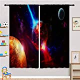 ANHOPE Kids Blackout Curtains, Space Galaxy Nebula Starry Planet Sky Psychedelic Outer Space Print Pattern Rod Pocket Thermal Insulated Room Darkening Curtains for Boys Bedroom 2 Panels 21' W X 45' L