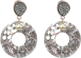 0fae6360a Acrylic Hoop Earrings Bohemian Grey Flower Resin Natural Stone Stud Earrings  for Women